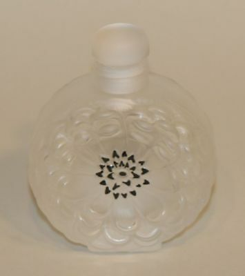 Lalique France Crystal Frosted Glass Dahlia Flower 3-1/2 Inch Perfume Bottle