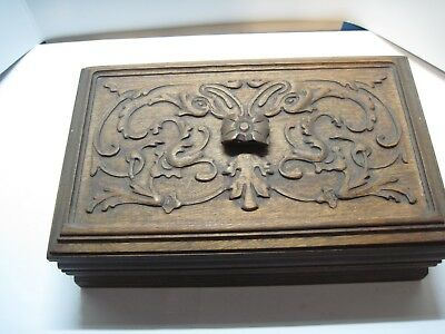vintage antique intricateley hand carved wooden box