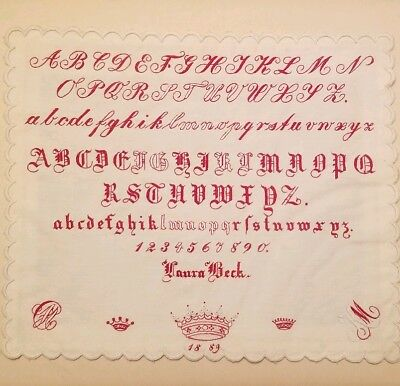 Antique 19th Century Alphabet Sampler Laura Beck 1889 English Crown