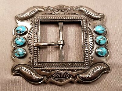 Stunning Navajo Sterling Repousse Buckle with #8 Turquoise