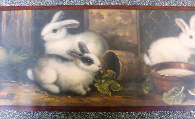 Wallpaper Border Dado Country Portrait style Bunny Rabbits carrots & Leaves