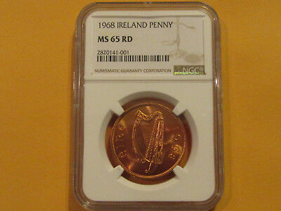 NGC Graded 1968 Ireland Coin 1d  MS65 Red penny  Hen with chicks unc high grade