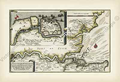 early antique map London river Thames estuary Sheppey Isle Merian 1667 art print