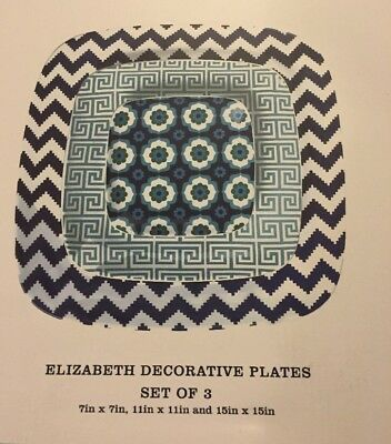 Happy Chic by Jonathan Adler Set of 3 Elizabeth Decorative Plates Brand NEW Blue