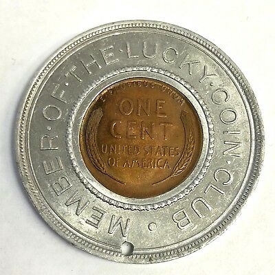 """Lucky Coin Club / Never Go Broke"" Good Luck Encased 1935 Wheat Cent Penny"