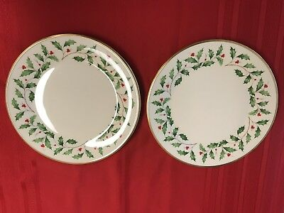 Lot of 2 Lenox Dimensions Holiday Salad/Dessert plates 8""