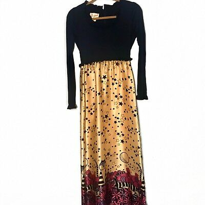 Vintage Jeune Leigue Cherberg Womens Dress Navy Purple Chesire Cat Floral Star