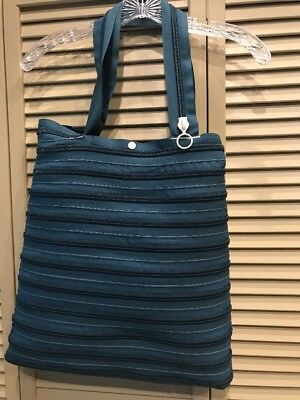 Large Zip It Teal Shoulder Tote Purse Beach Summer Multipurpose Bag