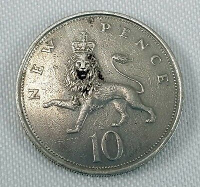 1973 UK Great Britain Ten New Pence Coin Elizabeth II Crowned Lion G circulated