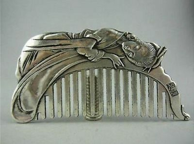 Delicate Chinese Old Copper Plating Silver Hand-Carved Beauty Comb