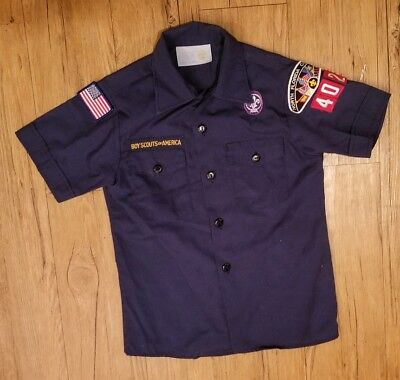 🌟 Cub Scout Boy Scouts of America Shirt Short Sleeve Youth M with Patches 🌟