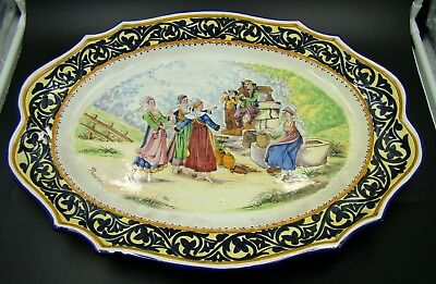 Antique French HB Quimper Faience Large Scalloped Serving Tray Hand Painted RARE