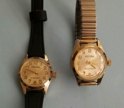 Lot Of 2 Futura Watches Antimagnetic Women Vintage Hand Wind Mechanical Work