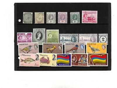 Mauritius collection of 21 Stamps 1885 to1969 used and NH