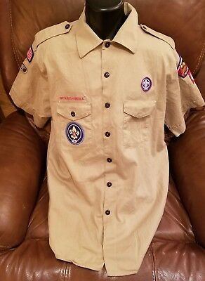 🌟 Boy Scout Shirt Short Sleeve Official Men's XL Shirt Tan with Patches 🌟