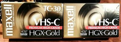 2 Pack Maxwell Premium HGX-Gold TC-30 VHS-C Video Camcorder Cassette New Sealed