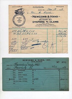 Dover Delaware Oyster Letterhead, Invoice Paper Newcomb & Hand Tin Can