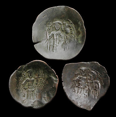 Lot of 3 Byzantine Trachy, Isaac II Angelus and Manuel I, Nice lot