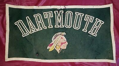 Rare 1940/50s Dartmouth Felt Banner Pennant Flocked Mascot Mohawk Indian Chief