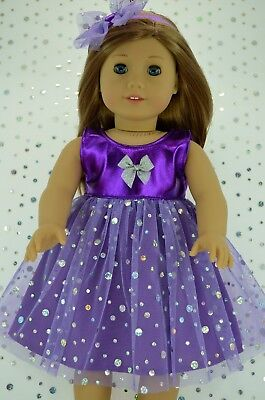 """Doll Clothes For 18""""American Girl~Our Generation~Journey SEQUIN DRESS~HEADBAND"""