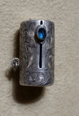 """Antique TINY 1"""" Engraved Sterling Silver CHATELAINE LIPSTICK HOLDER COMPACT"""
