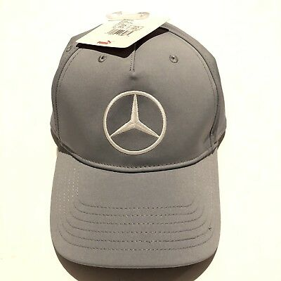 26482b98 NWT PUMA MERCEDES BENZ Hat EMBROIDERED CRESTED LOGO GRAY GOLF CAP HAT Rare