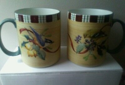 2 Lenox Winter Greetings Everyday Mugs- Downy Nuthatc & Goldfinch