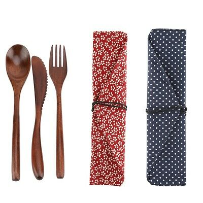 Natural Bamboo Cutlery Sets Dining Knife Fork Spoon Pieces Gift Camping Travel