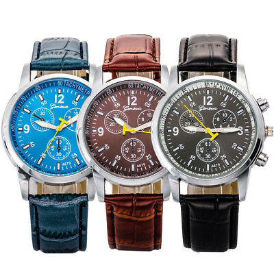 Men's Women Military Leather Date Quartz Analog Army Casual Dress Wrist Watches