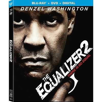 THE EQUALIZER 2 Blu-ray/DVD/Digital (CASE, SLIP COVER, CODE, & ALL DISC)