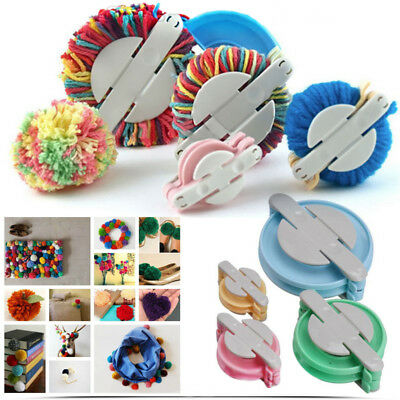 Set Pom pom Maker kit Fluff Ball Weaver Needle Knitting Craft Bobble Tool #NP5