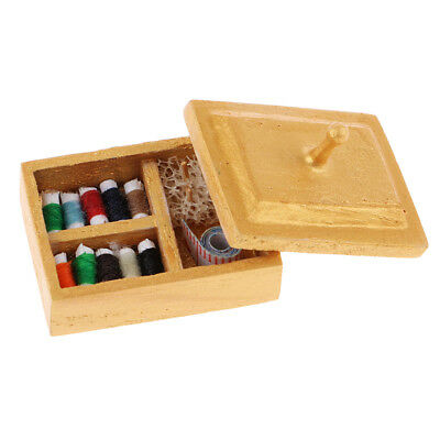 1/12 Scale Sewing Box Set Knitting Threaded Spool Wooden Miniature Dollhouse