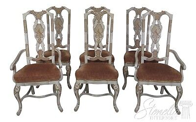 F43887EC: Set of 6 DREXEL HERITAGE Chinoiserie Decorated Dining Room Chairs