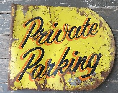 Vtg Pin Stripe Painted No Parking Service Station Garage Flange Sign
