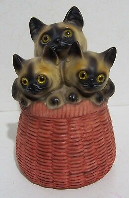 Vintage Lego Hand Painted Siamese Kittens in Wicker Basket Cat Music Box