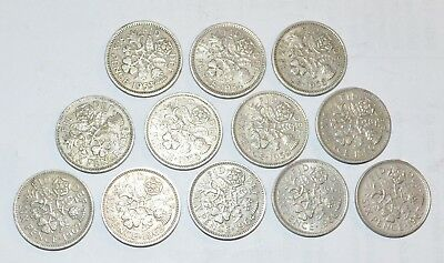 1953 - 1967 GREAT BRITAIN set SIXPENCE UK vintage lot 12 WEDDING good luck COINS