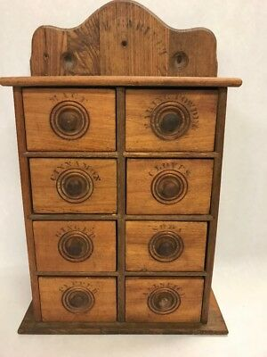 Antique wood spice cabinet rack Apothecary 8 drawer wall hanging baker kitchen