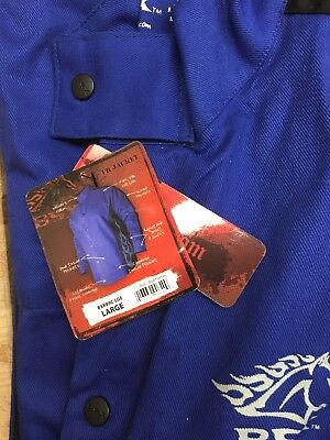 Revco BX9C Welding Jacket, Blue with white flames (large)