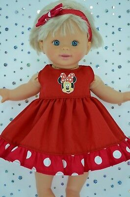 "Play n Wear Doll Clothes 13 ""Little Mommy/Baby Born POLKA DOT/RED DRESS~HEADBAND"