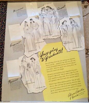 "Rare Large Antique Celanese Advertising Poster With Fabric Swatches 14.5"" x 17"""