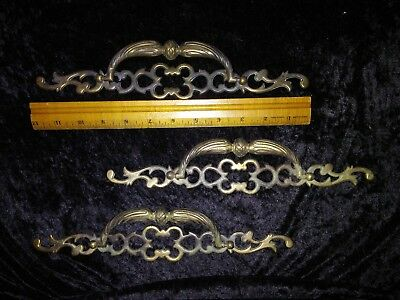Lot of 3 Antique Brass Large Victorian Drawer Pulls Cabinet Original