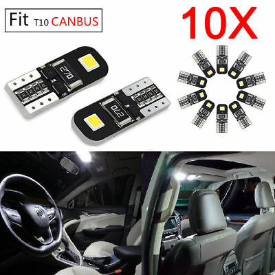 10x CANBUS T10 Wedge 2SMD Parker Number Plate LED Bulb W5W 194 168 158 WHITE 12V