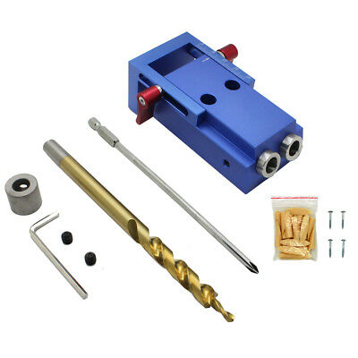 7X(Woodworking Pocket Hole Jig Kit 9.5mm Step Drill Bit Stop Collar For Kreg T8