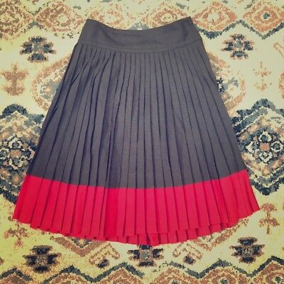 Marc by Marc Jacobs gray/red pleated wool skirt WOMENS 6
