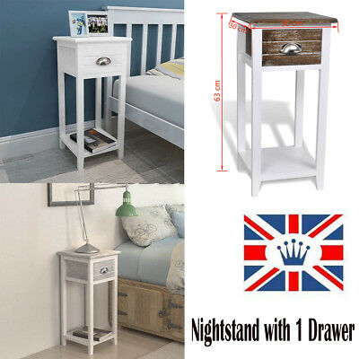 Bedside Cabinet/Telephone Stand with 1 Drawer Wood Organizer Storage Cupboard UK