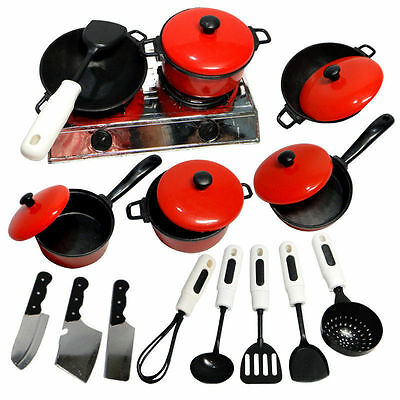 Kids Play House Toy Kitchen Utensils Cooking Food Pans Pots Dishes Cookware Set