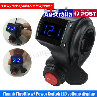 AU Thumb Throttle Power Switch LED Digital Voltage Display Electric Bike Scooter
