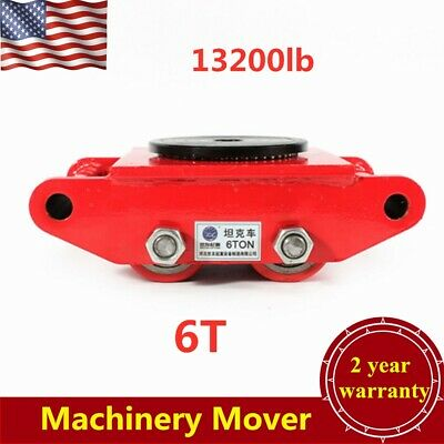 13200lb Heavy Duty Machine Dolly Skate Roller Machinery Mover Red 360° Rotation