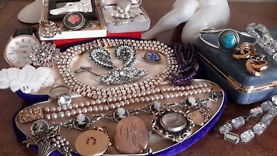 Large Collection Antique Vintage Jewellery Rolled Gold Sterling Silver Akoya Pea