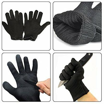 Size L Black Stainless Steel Wire Mesh 5 level Protection Cut Proof Work Glove